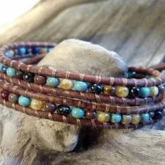 Southwest Chic Mosaic Double Leather Wrap Bracelet