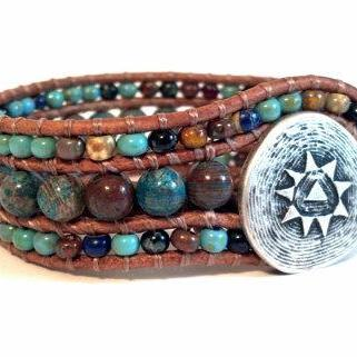 Mosaic Cuff, Beaded Leather Cuff Bracelet, Southwestern Boho Chic, Christmas Stocking Stuffer